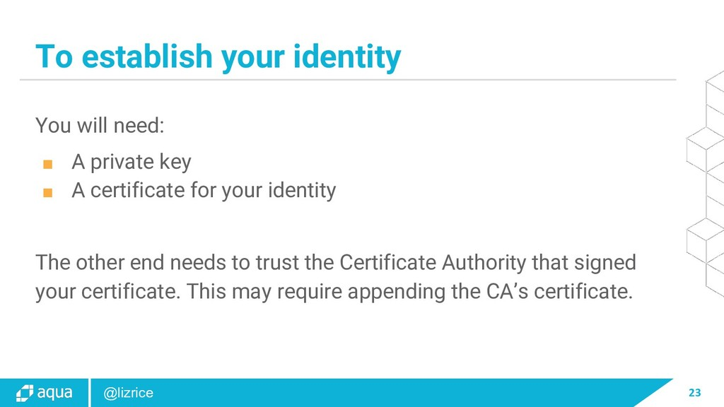 23 @lizrice To establish your identity You will...