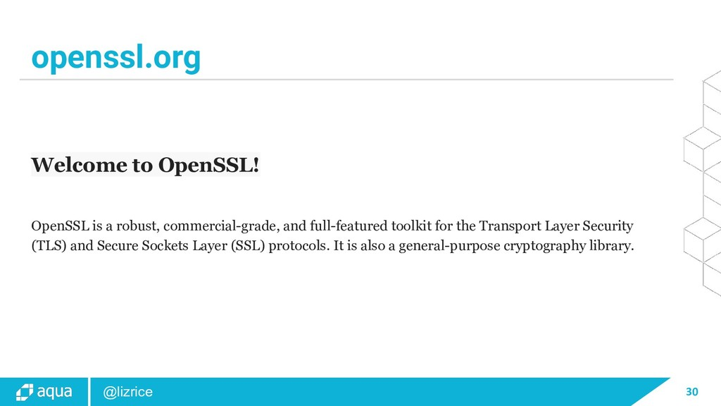 30 @lizrice openssl.org Welcome to OpenSSL! Ope...