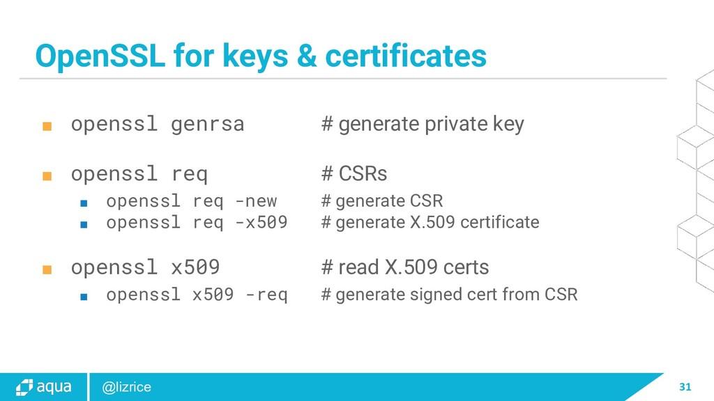 31 @lizrice OpenSSL for keys & certificates ■ o...