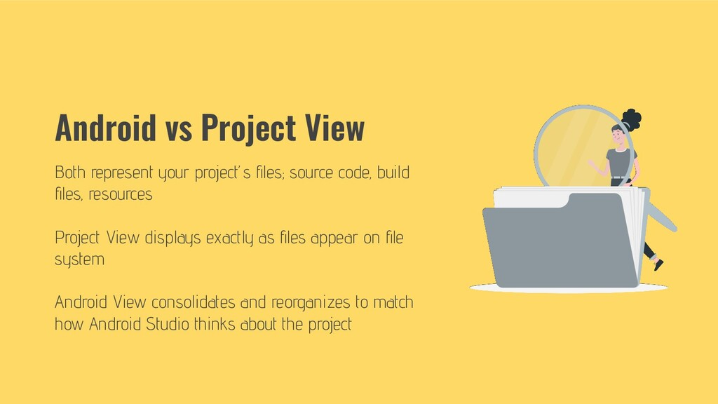 Android vs Project View Both represent your pro...