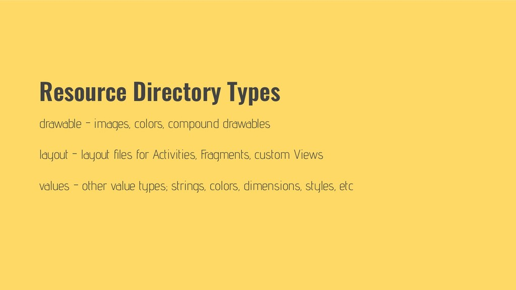 Resource Directory Types drawable - images, col...