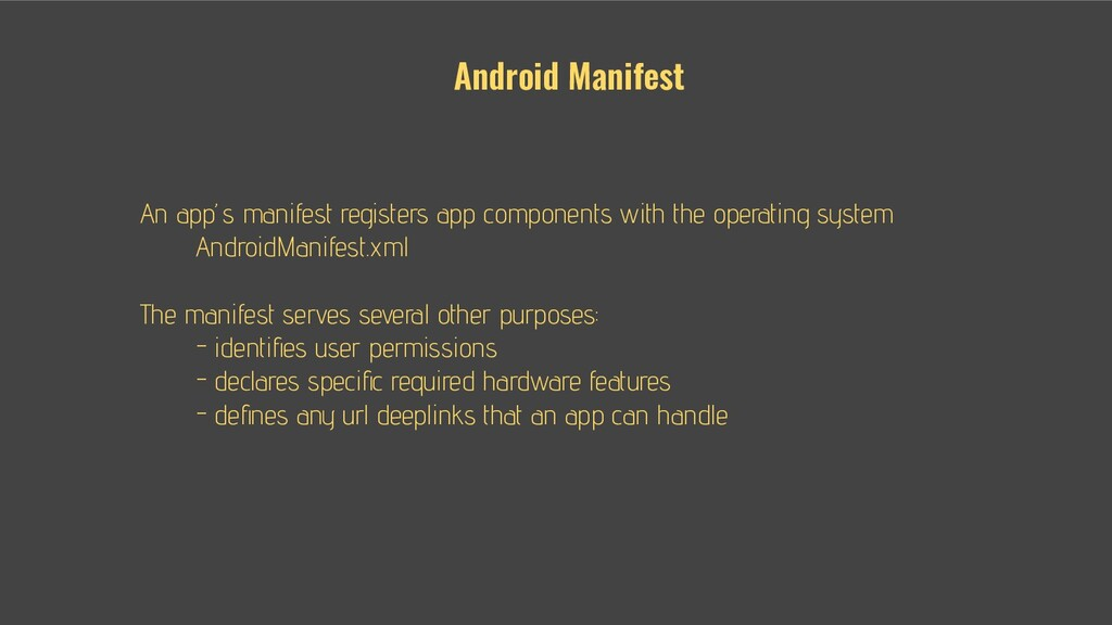 An app's manifest registers app components with...
