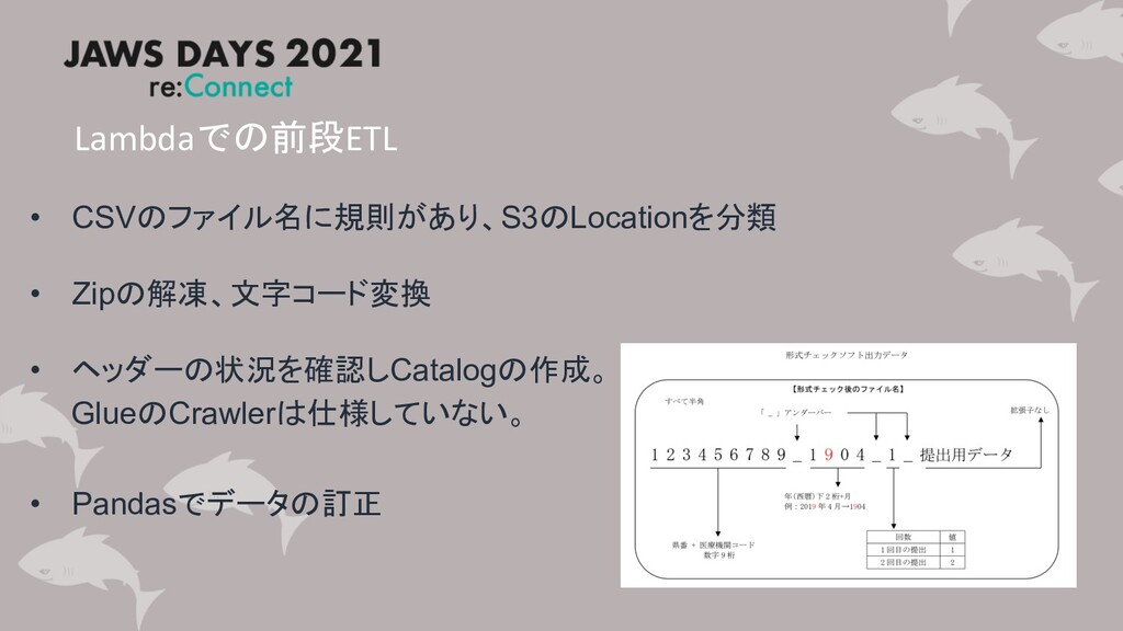 Lambdaでの前段ETL • CSVのファイル名に規則があり、S3のLocationを分類 ...