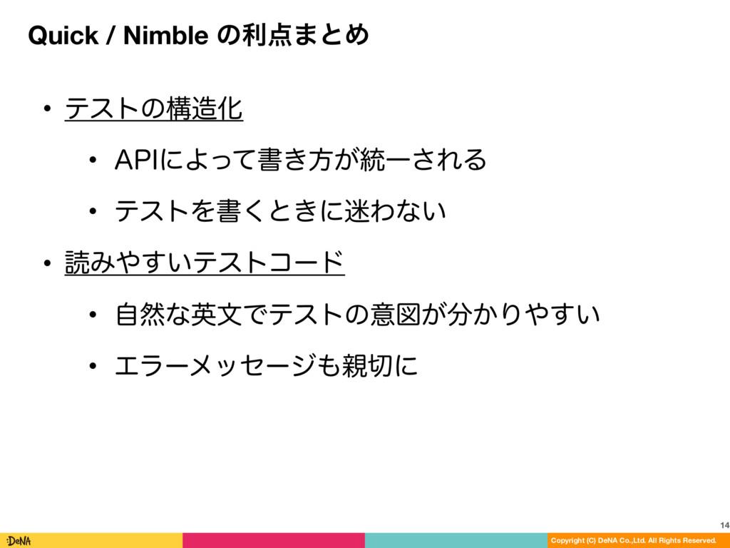 Quick / Nimble ͷར·ͱΊ 14 Copyright (C) DeNA Co....