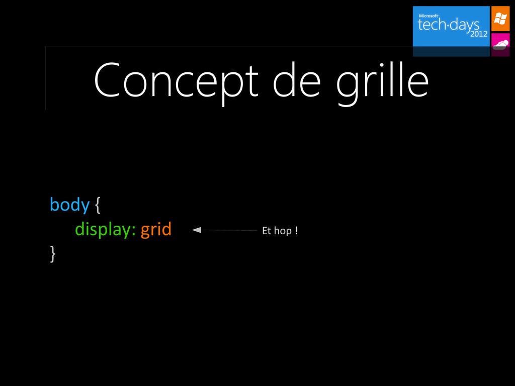 Concept de grille body { display: grid } Et hop...