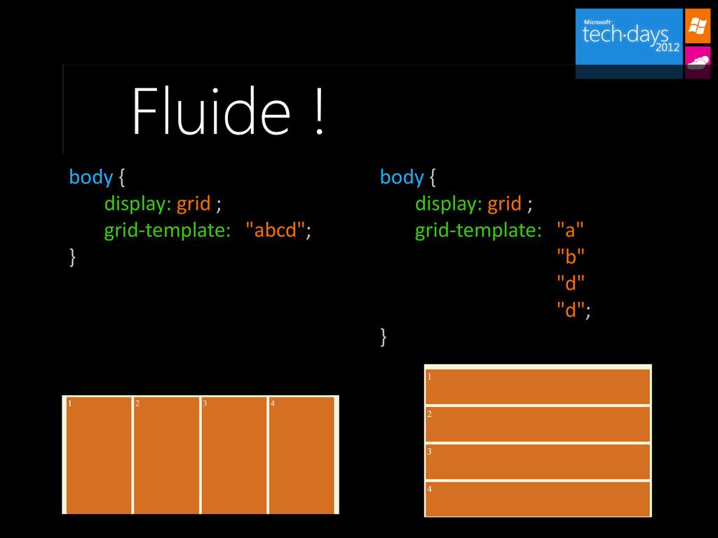 Fluide ! body { display: grid ; grid-template: ...