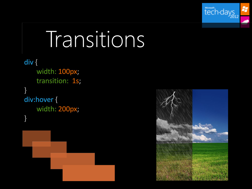 Transitions div { width: 100px; transition: 1s;...