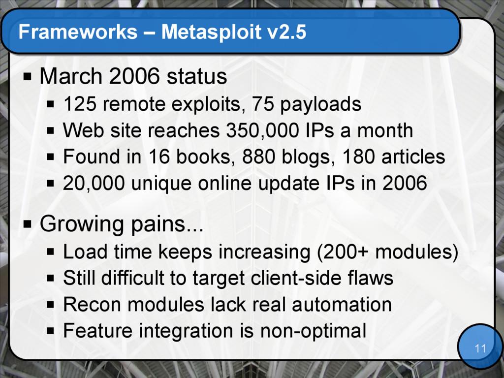 11 Frameworks – Metasploit v2.5  March 2006 st...
