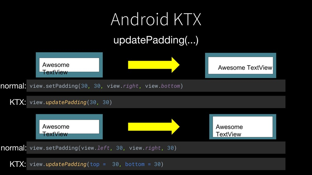 Android KTX updatePadding(...) Awesome TextView...