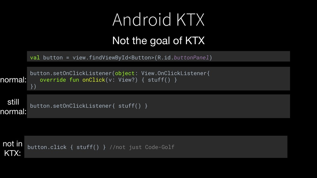 Android KTX Not the goal of KTX button.click { ...