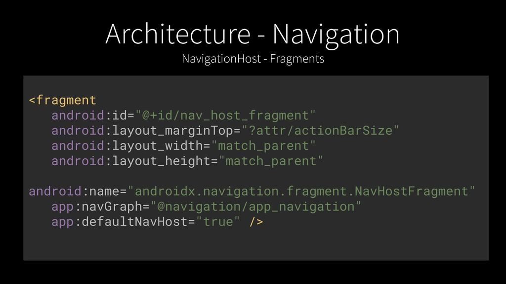 Architecture - Navigation NavigationHost - Frag...