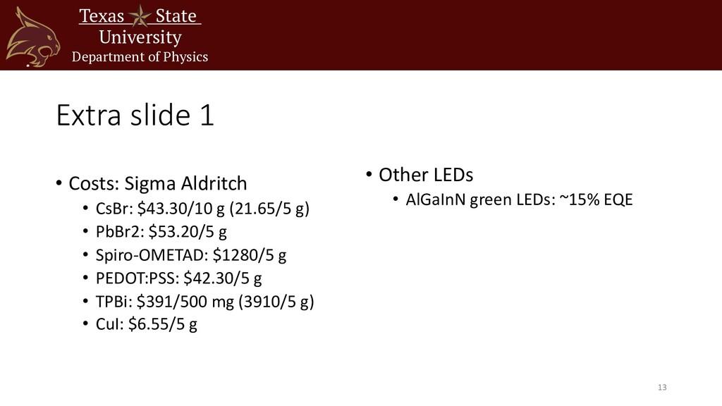 Extra slide 1 • Costs: Sigma Aldritch • CsBr: $...