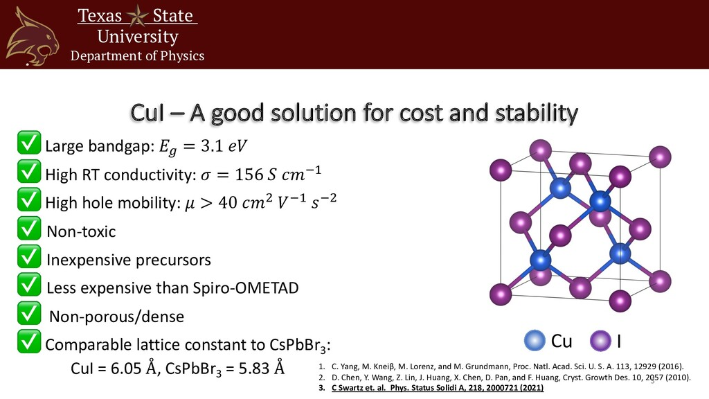CuI – A good solution for cost and stability Te...