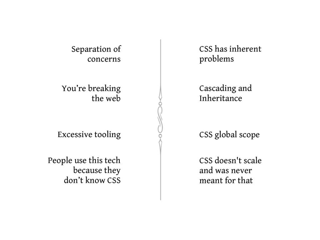 Separation of concerns CSS has inherent problem...