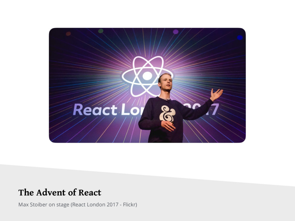 Max Stoiber on stage (React London 2017 - Flick...