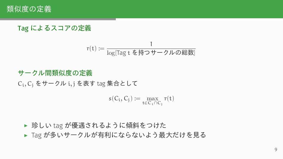 類似度の定義 Tag によるスコアの定義 r(t) := 1 log[Tag t を持つサーク...