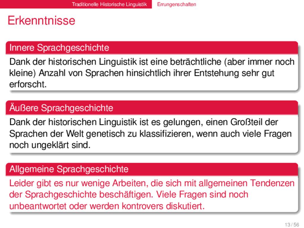 Traditionelle Historische Linguistik Errungensc...