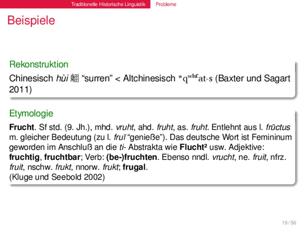 Traditionelle Historische Linguistik Probleme B...