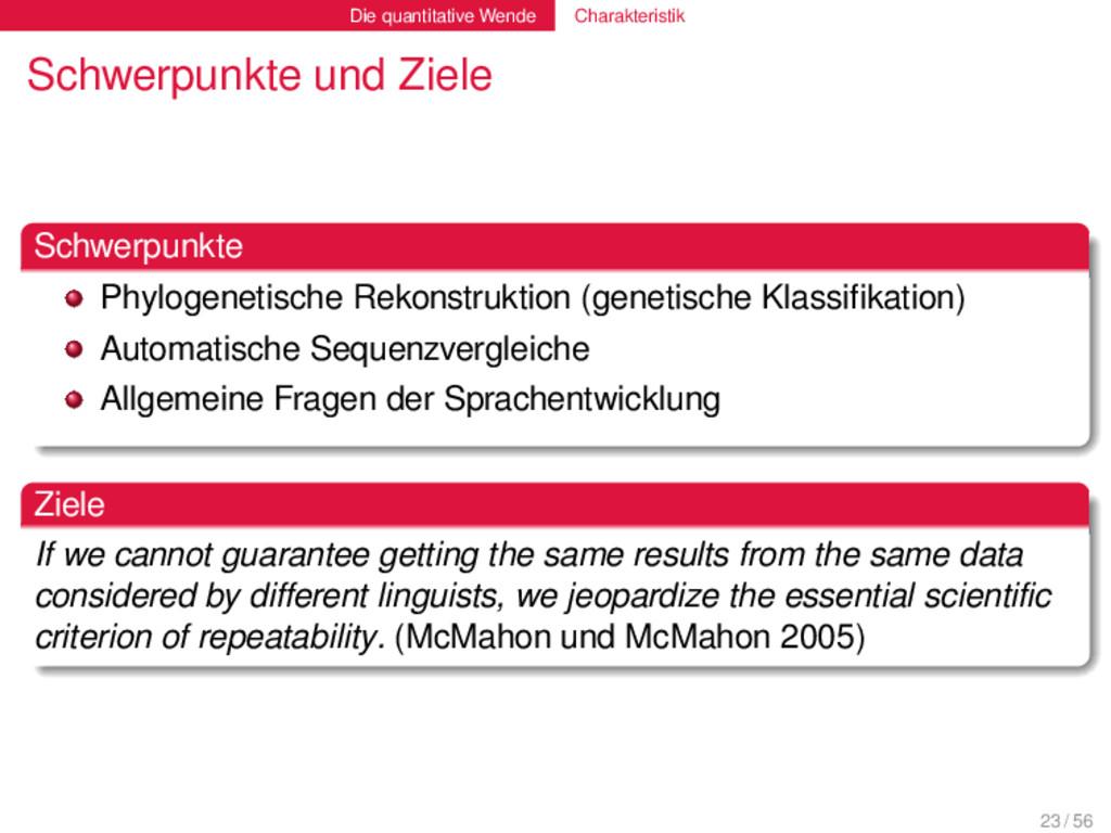 Die quantitative Wende Charakteristik Schwerpun...