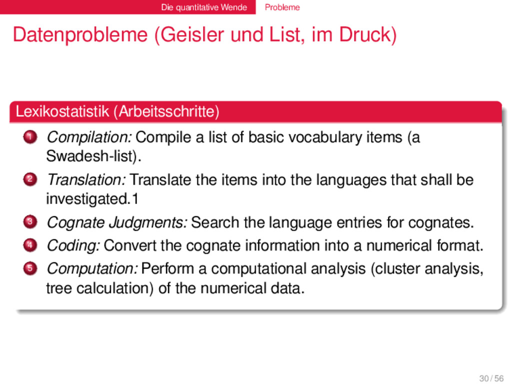Die quantitative Wende Probleme Datenprobleme (...