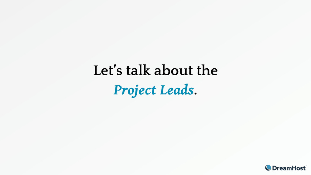 Let's talk about the Project Leads.