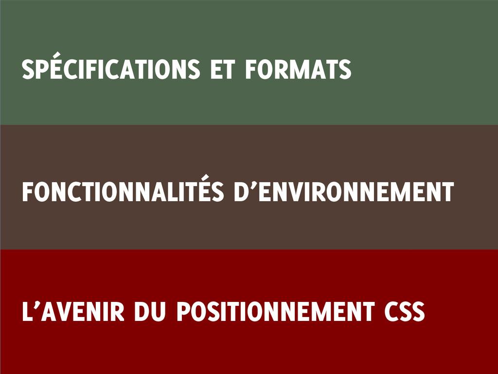 SPÉCIFICATIONS ET FORMATS FONCTIONNALITÉS D'ENV...
