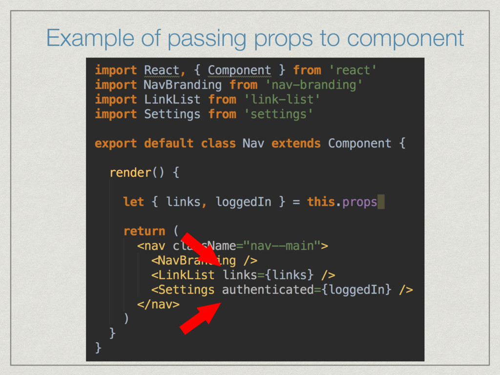 Example of passing props to component