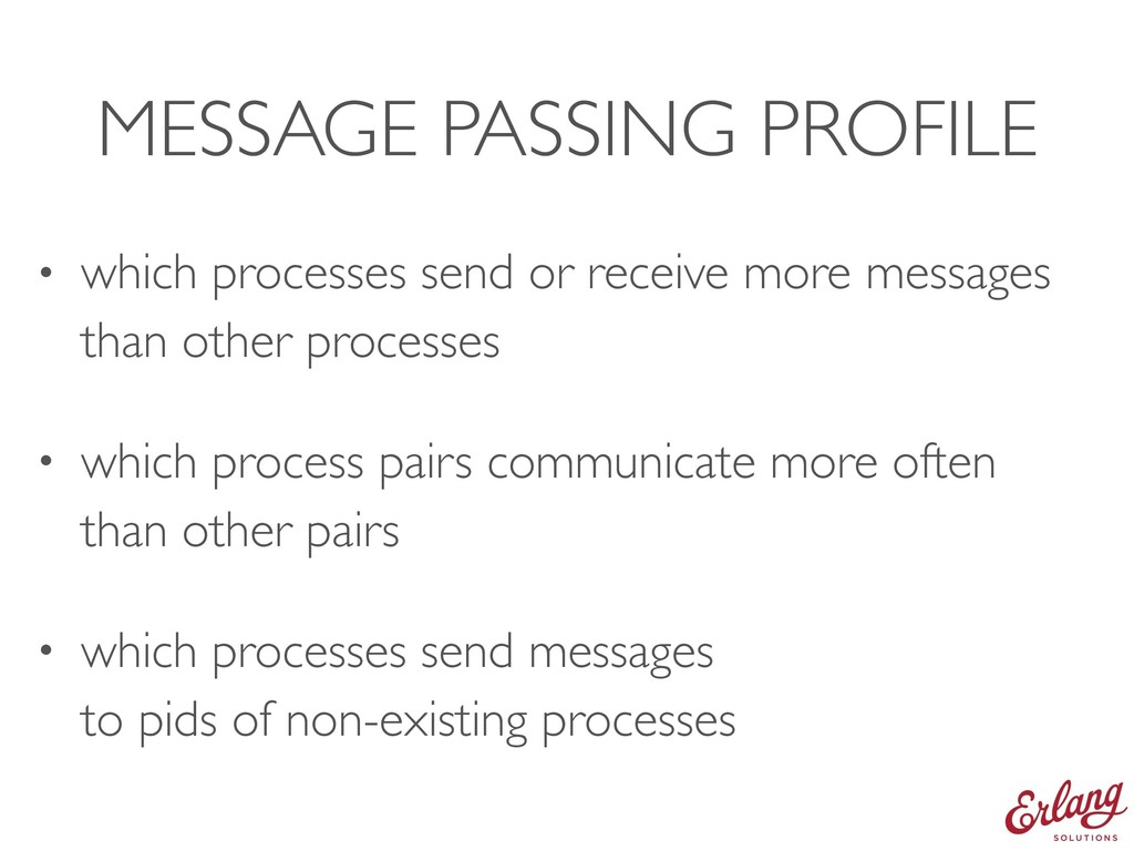 MESSAGE PASSING PROFILE • which processes send ...