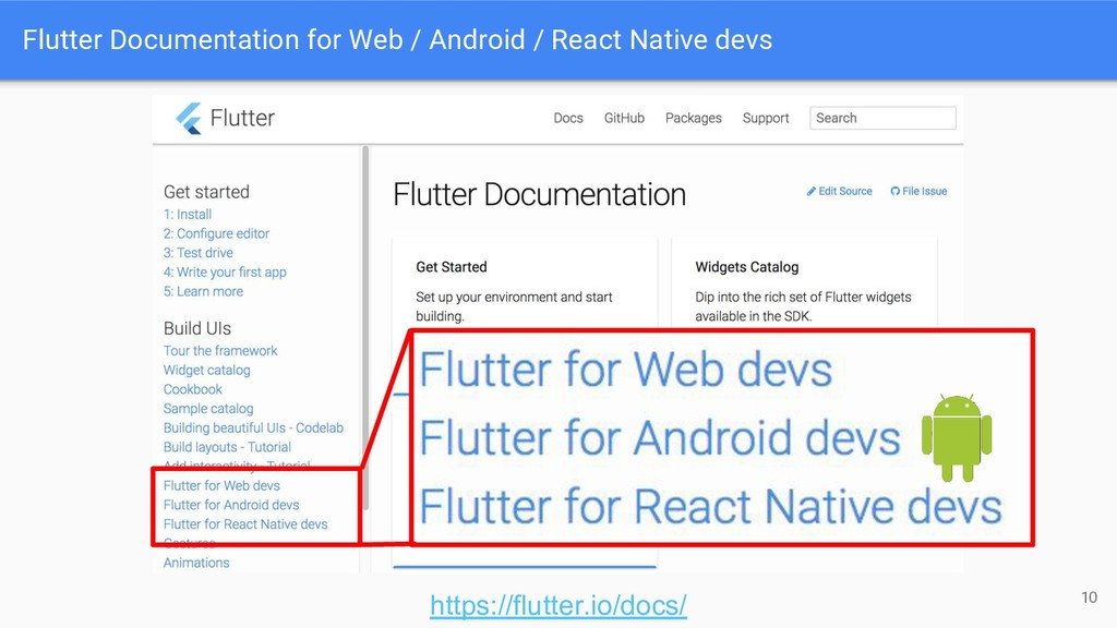 Flutter Documentation for Web / Android / React...