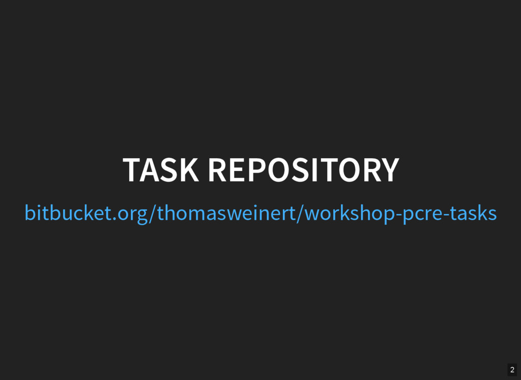 TASK REPOSITORY bitbucket.org/thomasweinert/wor...