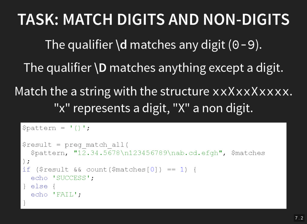 TASK: MATCH DIGITS AND NON-DIGITS The qualifier...