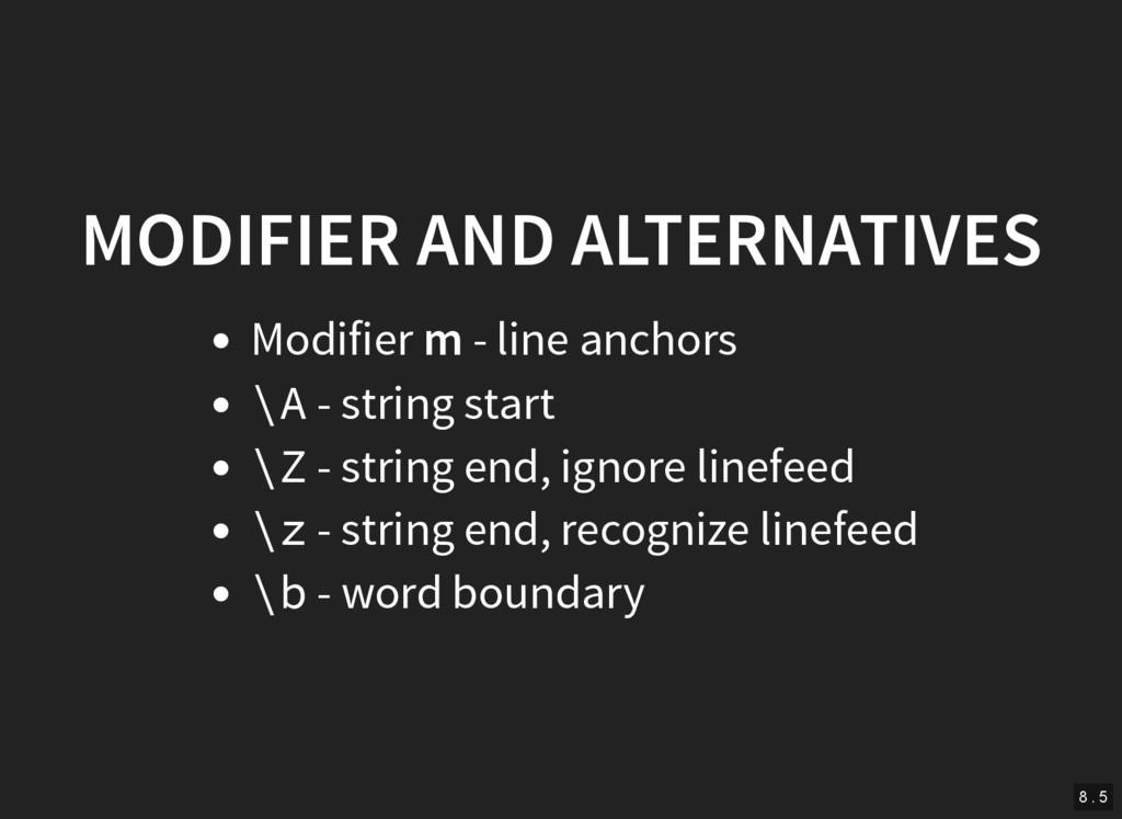 MODIFIER AND ALTERNATIVES Modifier m - line anc...