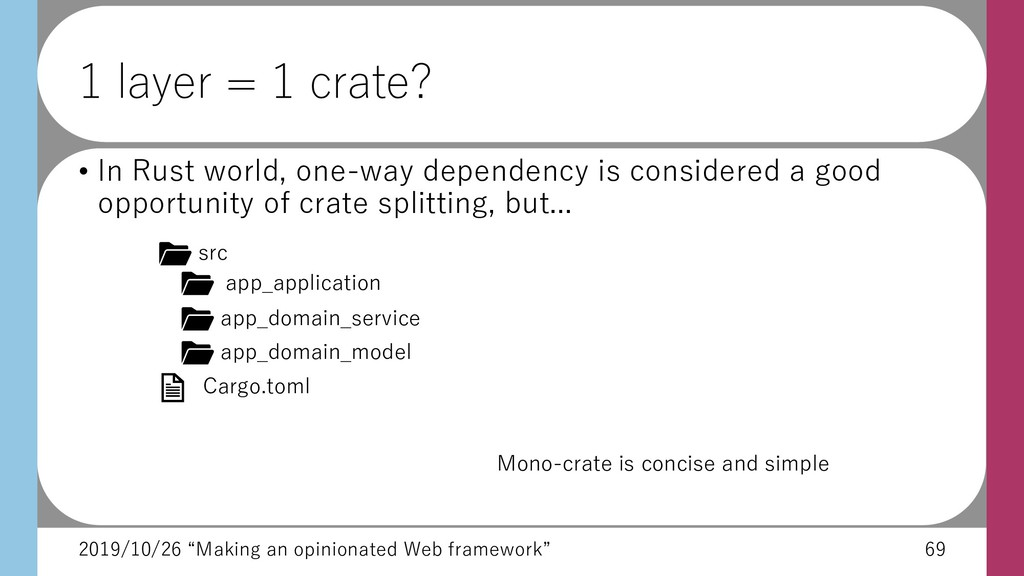 "2019/10/26 ""Making an opinionated Web framework..."