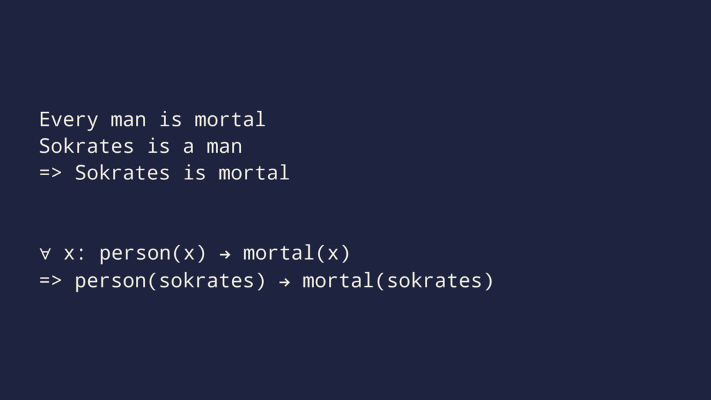 Every man is mortal Sokrates is a man => Sokrat...