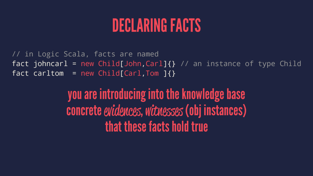 DECLARING FACTS // in Logic Scala, facts are na...