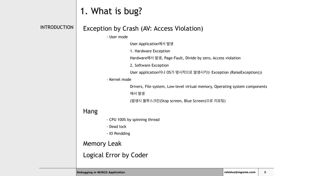 Debugging in WIN32 Application INTRODUCTION Exc...