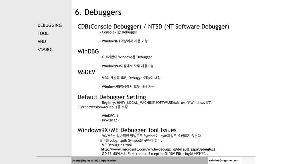 6. Debuggers DEBUGGING TOOL AND SYMBOL CDB(Cons...
