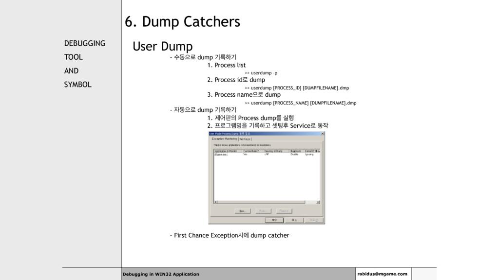 DEBUGGING TOOL AND SYMBOL User Dump - ࣻزਵ۽ dump...