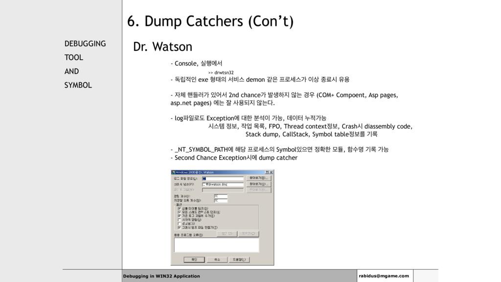 DEBUGGING TOOL AND SYMBOL Dr. Watson - Console,...
