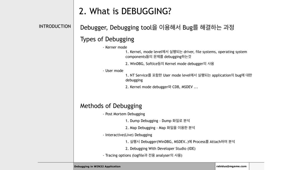 INTRODUCTION Debugger, Debugging toolਸ ਊ೧ࢲ Bug...