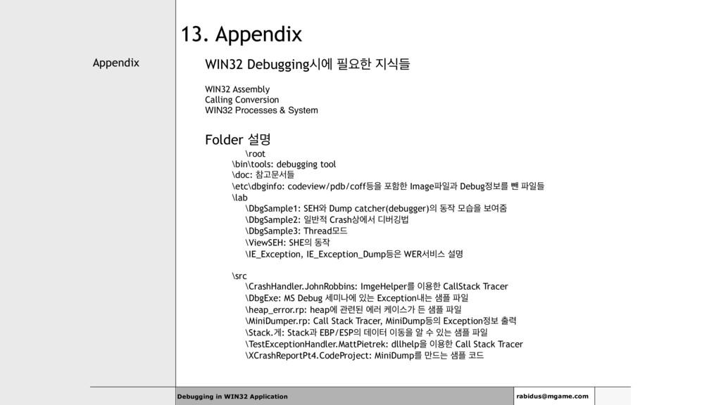 Appendix Debugging in WIN32 Application rabidus...
