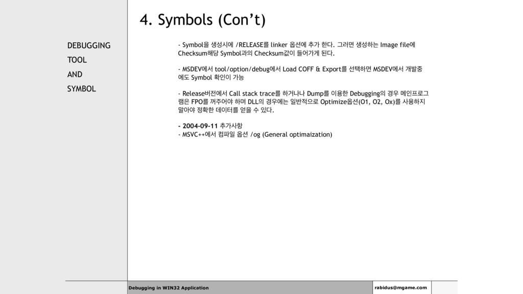 4. Symbols (Con't) DEBUGGING TOOL AND SYMBOL - ...