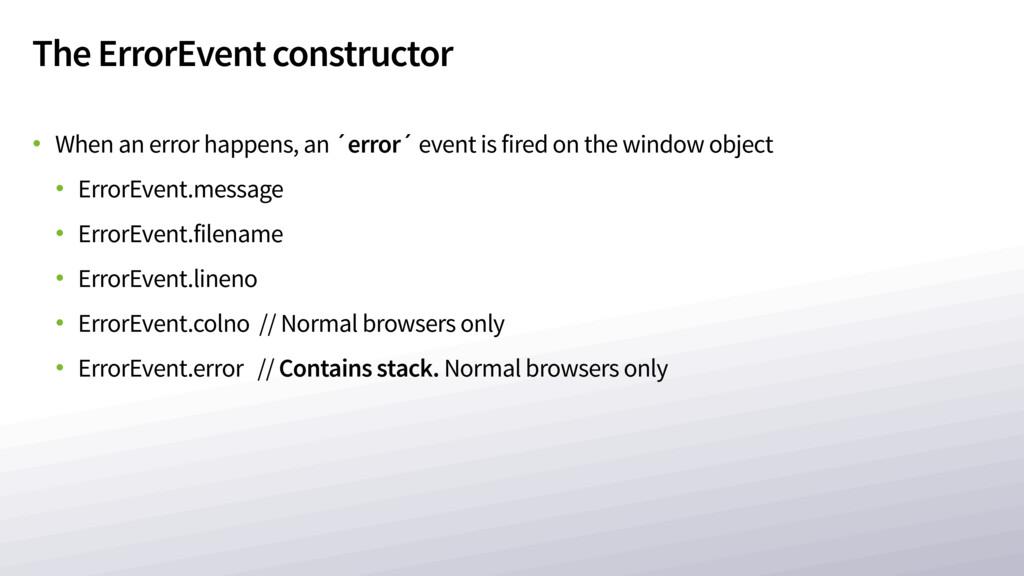 The ErrorEvent constructor • When an error happ...