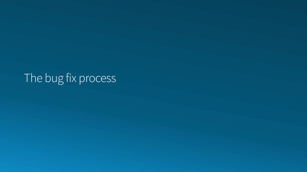 The bug fix process