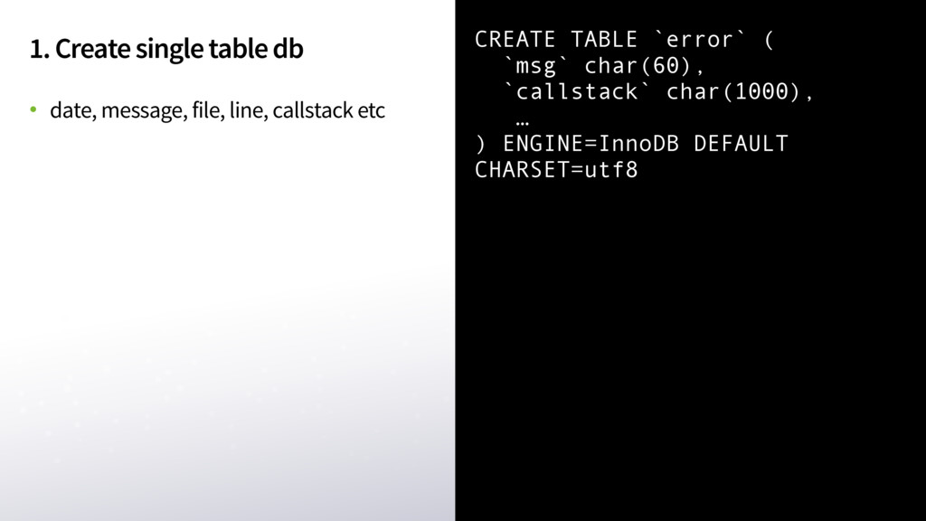 1. Create single table db • date, message, file...