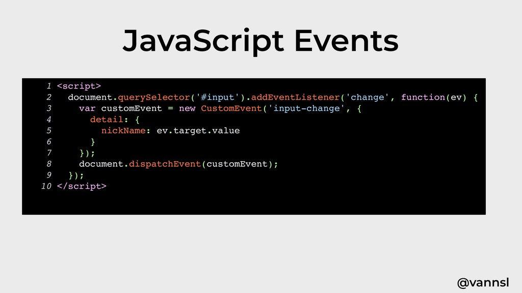 @vannsl JavaScript Events 1 <script> 2 document...