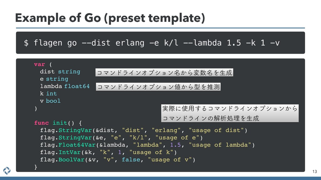 Example of Go (preset template) 13 $ flagen go ...