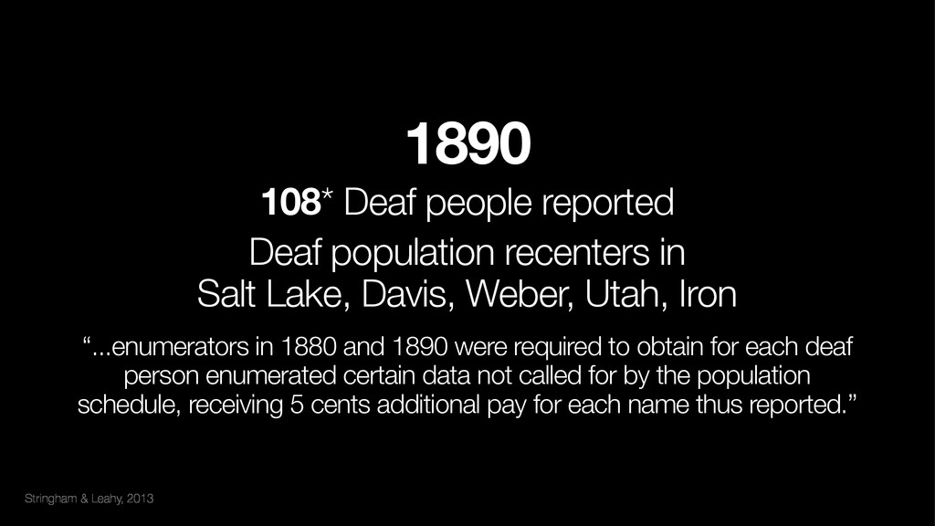 Stringham & Leahy, 2013 1890 108* Deaf people ...