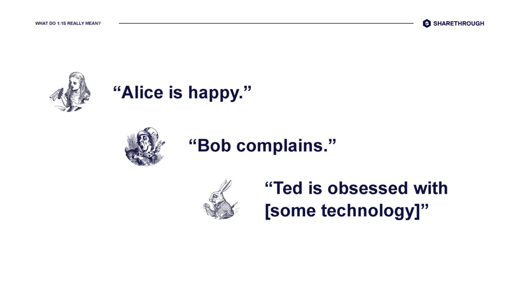 "WHAT DO 1:1S REALLY MEAN? ""Alice is happy."" ""Bo..."