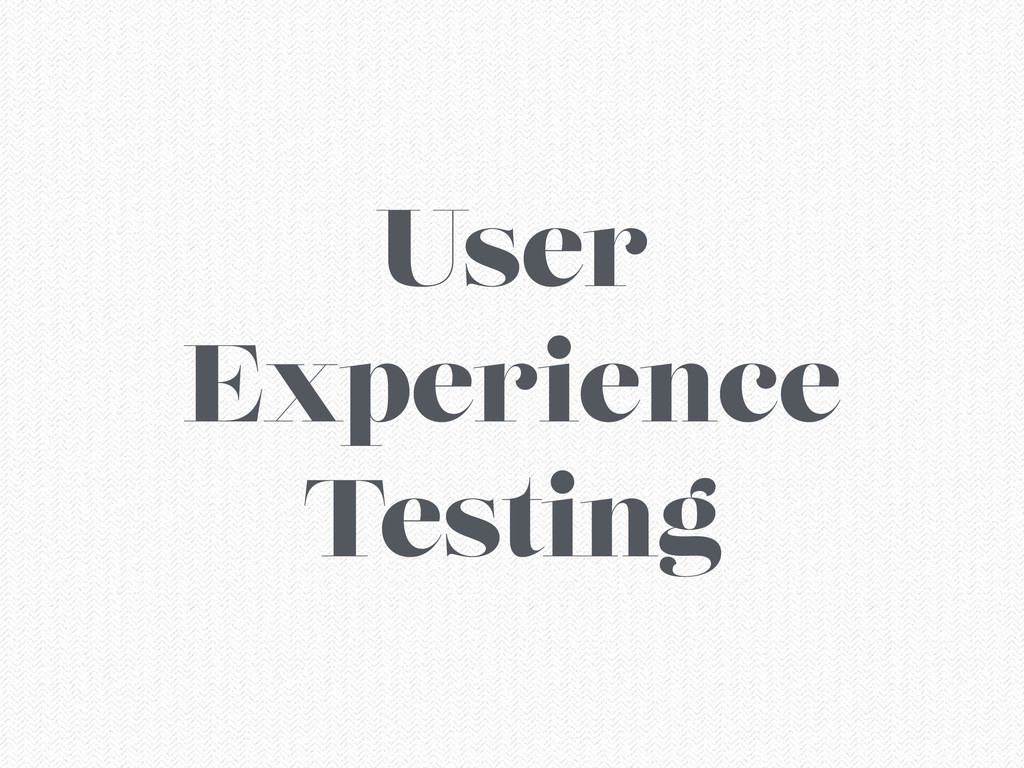 User Experience Testing